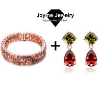 Joyme Brand fashion mulit-color bangle earring jewelry set Mona Lisa cz set for women wedding jewelry set 2014