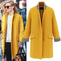 2014 new winter women's woolen jacket and long sections woolen coat suit jacket female winter coat women XL