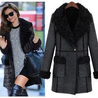 2014 winter new European and American women's plush interior snakeskin pattern leather jacket winter coat women XL
