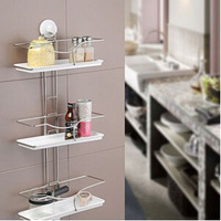 free  shipping The bathroom shelf suction-cup three-layer combination