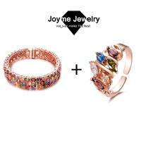 Joyme Brand fashion mulit-color bangle ring jewelry set Mona Lisa cz set for women wedding jewelry set