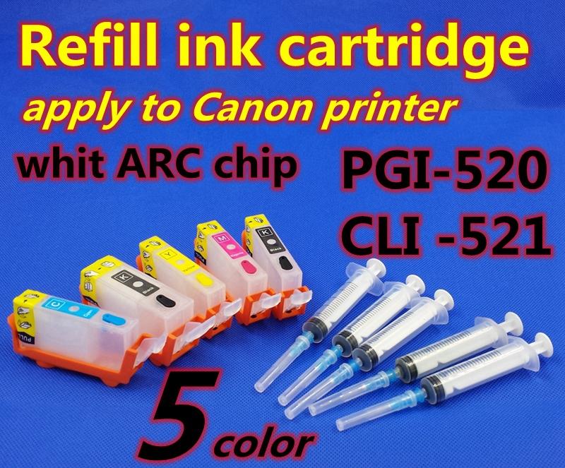 10set PGI 450PGBK PL 451BK C M Y 5color Refillable ink cartridge Apply to printer MG6440