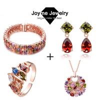 Joyme brand fashion multi-color bangle earring ring necklace jewelry set Mona Lisa cz set for women wedding jewelry set 2014
