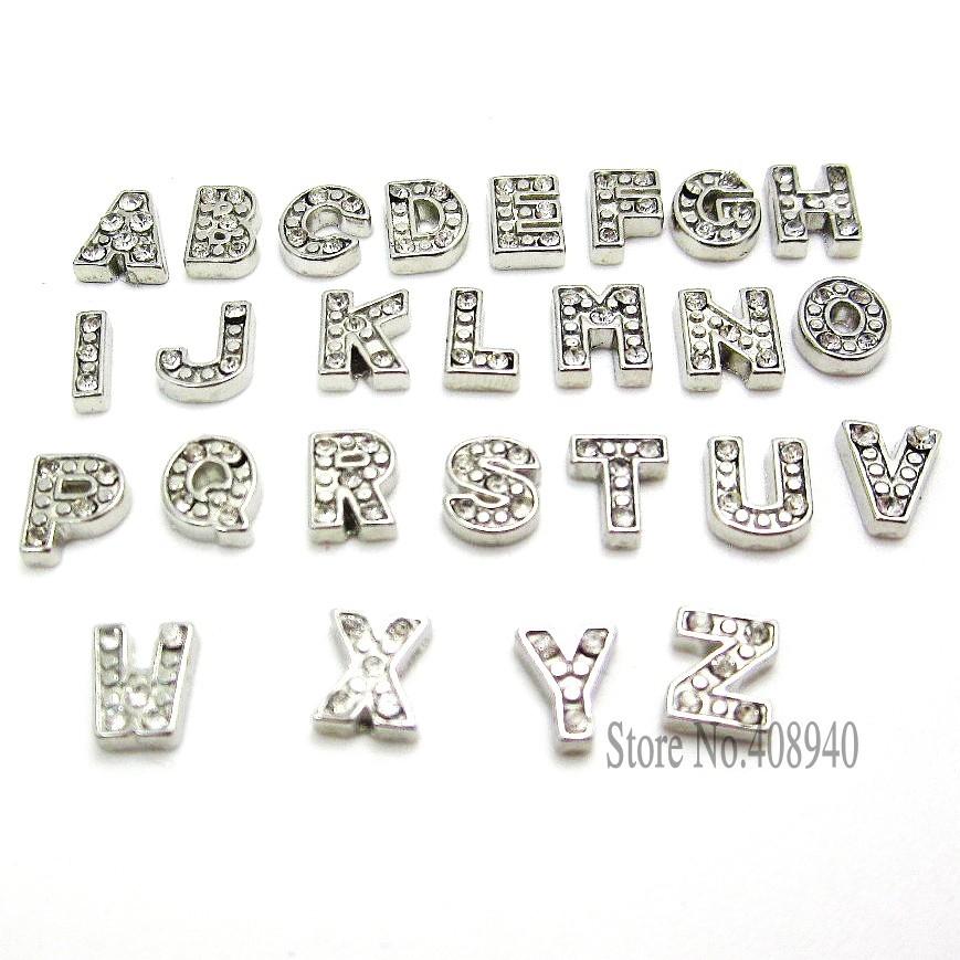 7mm 260 pcs petillant cristal a-z alphabet lettre charme flottant locket initiale charmes pendentifs médaillon flottante charmes diy