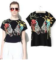 2014 summer individuality doodle multicolour loose o-neck short-sleeve T-shirt female women's fashion NJS173