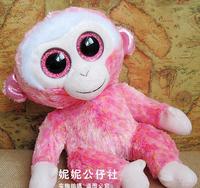 TY big eyes plush toys soft pink monkey  doll 25cm 2pcs/lot  stuffed animals doll for kids free shipping AB100