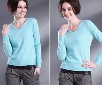 Women V-neck Cashmere Sweater Women Long-sleeve Basic Sweater for women