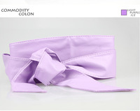 Euro Fashion Lady Bowknot Bind Wide Belts Very long soft belt Bowknot is wide waist closure Solid color garment accessories