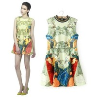 Women's 2014 end of a single vintage red girl print o-neck sleeveless vest slim waist one-piece dress female NJS177