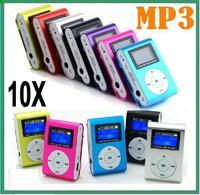 10 pc/lot LCD Metal Clip Mp3 Music Player With Card Slot Mini Mp3 Player No FM Radio  No earphone No usb