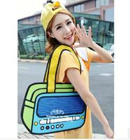 For top cartoons bag 3d three-dimensional bag one shoulder student bag radio bag vintage bag