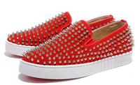 Newest women men flats rivet  red bottom spring summer autumn low-cut flat shoes platform genuine leather red Beige size 38-46