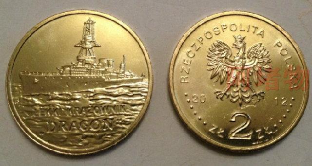 1pcs 2012 polish 2 zloty coin second world war 2 dragon knight corvette brand new poland(China (Mainland))