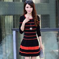 2014 knitted one-piece dress slim waist women's long-sleeve o-neck stripe one-piece dress