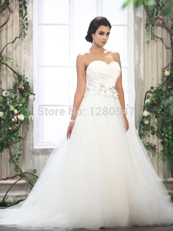 2014 Cheap White Bandage Plus size Ladies Princess Church Flower Wedding dresses vestido de noiva 2 4 6 8 10 12 14 16++(China (Mainland))