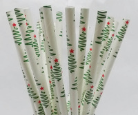 Wholesale Lovely Christmas trees Paper Straws,Party Drinking Straws, Party Supplies Wedding Supplies 500pcs