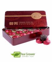 Hot Sale Black tea Rose Fragrant Pu'er,Ripe Puer Tea,Chinese Mini Puerh Tea,Gift Tin box,Green Slimming Free Shipping CS-27
