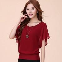 2014 New Fashion Women's Summer Short-sleeve Top Ladies Chiffon Blouses Shirts Female Elegant Batwing Plus size XXXXLblusas 6306