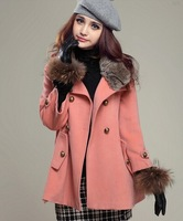 2014 autumn and winter women stand collar double breasted slim fur collar cloak overcoat woolen overcoat woolen outerwear