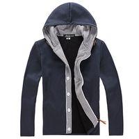 Men's hooded sweatshirts Casual coats Men clothing Brand fashion Sports High quality Free-shipping 2014 Autumn Grey Navy