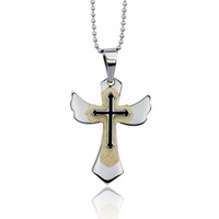 fashion Cross Pendant Necklace Women and Men Gift Angel wing design charms jewelry