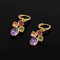 2014 Classic Synthetic Gemstones Embedded Copper Dangle Earrings for Women ER0308