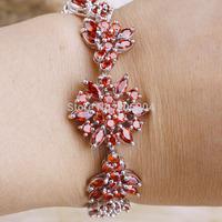 "Wholesale Wedding Fashion Lady's Flower 80PCS 7.48"" Garnet 925 Silver Bracelet Gift Love Style Gift"