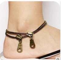 SL104 Hot New Fashion Vintage Alloy Double Zipper Anklets For Girl Jewelry Accessories Wholesales