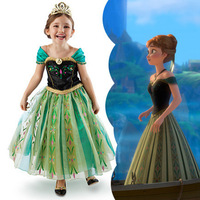 5Pcs/Lot Fashion frozen anna coronation dress girls Anna costume / party dress, new hot design children Frozen dresses princess