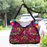 New Ethnic Embroidery Bags Handmade Flower Balls Embroidered Shoulder Bag Women's Big Vintage Handbag Shopping Bag Free shipping
