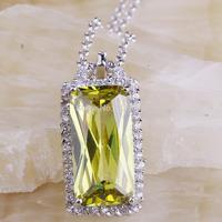 Wholesale Fashion Emerald Cut Green Amethyst & White Topaz 925 Silver Free Chain Necklace Pendant Noble European Jewelry