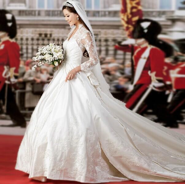 di lusso celebrità princess matrimonio kate vestito con lungo strascico Royal abiti da sposa manica lunga più dimensioni