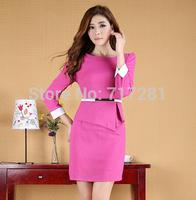 Hot Sale! New 2014 Fashion Korean temperament big yards long sleeve dress Free Shipping      S M L XL 2XL 3XL      q4589