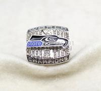 Free shipping rhodium plated Replica NFL 2013 Seattle Seahawks Super Bowl XLVIII World Series Championship ring size 11