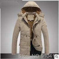 New 2014 Thicken Keep Warm Solid Turn-Down Collar Men Cotton Jacket Free Shipping 3 Collors M L XL XXL XXXL