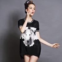 women's horse print lace patchwork dress 2014 summer European and American brand plus size black loose dress 2xl,3xl,4xl,5xl