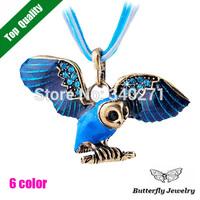 New 2014 Autumn and Winter Fashion Jewelry Vintage Alloy Blue Enamel Rhinestone Owl Pendant Necklace Women