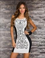 Free Shipping Women's Fashion Sexy Sleeveless Printed Bodycon Dress