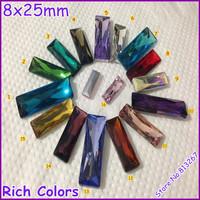 50pcs 8x25mm Baguette Fancy Stone Rectangle Crystal Pointback Stone Rich Colors U~Choose !