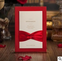 Classic Elegant With Bow Design Wedding Invitations Cards in Red Customizing and Printing 50pcs/lot Free Shipping CW2021