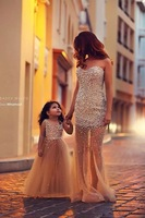 2014 New Arrival Pearls Elsa Famliy Mother and Child Two Pieces long prom dresses TM11231 Frozen Dress