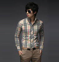 2014 Men New Fashion England Classical Plaid Stylish Perfect Slim Long Sleeve Shirt, Casual 2 Colors M-XXL Size Blouse c9