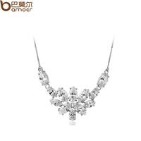 Ice flower necklace aaa zircon pendant 18k platinum female necklace marriage accessories short design