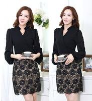 Winter Dress New 2014 Plus Size M-XXXL Lace Patchwork Vintage OL Casual Dress Long Sleeve Novelty Women Work Wear Vestidos