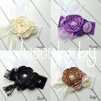 5pcs/lot Ivory WIDE lace Headband with Layered Poppy Flowers Matching feather Baby Headbands Boho Style