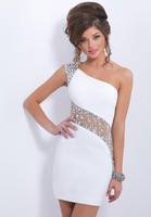 2014 New Arrival Beading One shoulder White Homecoming Dresses Short homecoming gown prom dresses 2014 Summer Mini prom Dress