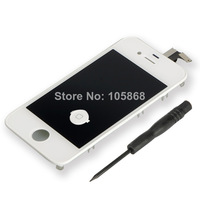 YY White Touch Screen Digitizer&LCD Display&Button+Screwdriver Fit For i Phone 4 4G P0385