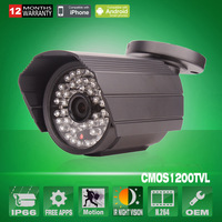 Outdoor 48 IR 1200TVL Sony CMOS IMX138 Sensor Waterproof Security CCTV Surveillance Camera With IR-Cut OSD