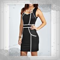 Free Shipping Clubwear Women's Fashion Sexy Hit Color Slim Bodycon Dress