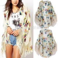 2014 New Summer Women Vintage Ethnic Floral Print Simi Sheer Chiffon Loose Kimono Cardigan Tassels Shirts No Button Blouses Tops
